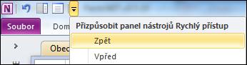Přidání tlačítka Zpět na panel Rychlý přístup